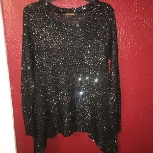 2/ 20 Long Black Sweater w Silver Accent Sweater